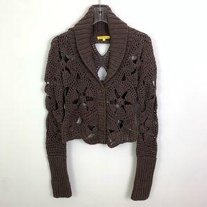 Catherine Malandrino Crochet Cotton Button Sweater